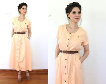 1990s Shirt Dress / 90s Peach Denim Midi Dress