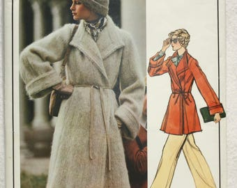 """sz 16 Bust 38"""" Vintage Vogue Paris Original  Designer Sewing Pattern 1023 by Christian Dior Double Breasted  Coat and Sew-in Label"""