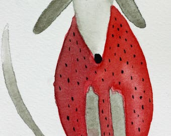 Strawberry dog original watercolor, whimsical, children's art, nursery art, red fruit, food, kitchen art, Halloween, humorous , berry