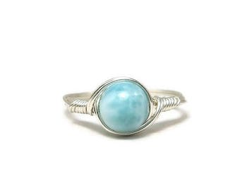 25% Off Sale Larimar Argentium Sterling Silver Wire Wrapped Ring Custom Sized