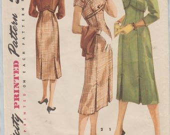 Simplicity 1525 / Vintage 50s Sewing Pattern / Empire Dress And Jacket / Size 18 Bust 36
