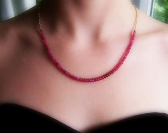 Birthstone necklace for July, ruby necklace, ruby wedding gift, ruby silver necklace, ruby beaded necklace, Thai Karen silver necklace