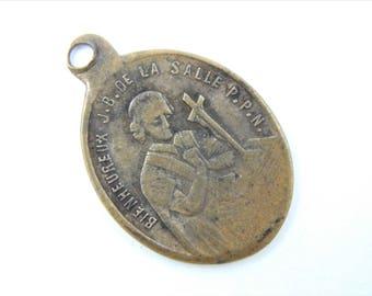 Antique 1800s French Saint Jean Baptiste de la Salle Catholic Medal - Our Lady of Grace Scapular - Religious Charm - Saint of Teachers - 032
