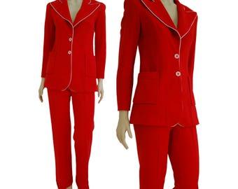 vintage 60s suit, vintage female suit, vintage red suit, vintage clothing
