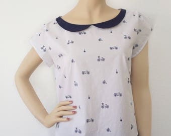 Bicycle Print Blouse with Collar