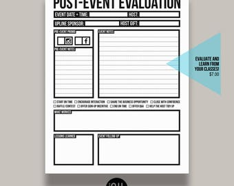 Post-Event Evaluation Form for Home Classes or Parties