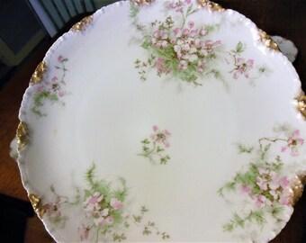 """12 Haviland French Limoges Porcelaine 7 1/2"""" Salad Plates,  Apple Blossom, Gold Edge 1895 N Mark Antique"""