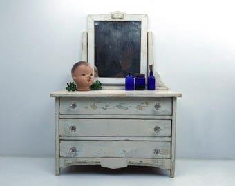 vintage 30s 40s salesman sample wood dresser antique furniture chippy white paint shabby chic cottage decor storage drawers child size girl