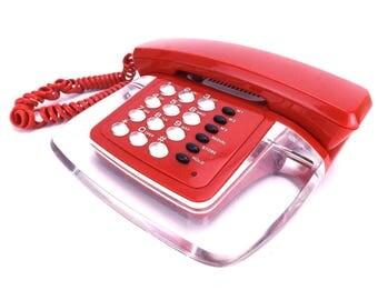 80s vintage / clear phone / push button phone / bright red / clear acrylic / conair phone / phone vintage / red phone / retro phone / modern