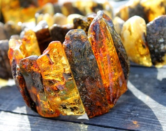 Natural Baltic Amber Stretch Bracelet Classic Huge Honey Exclusive Large Hand Crafted Honey Transparent Bee Mother's Day