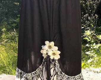 Beautiful Skulls and Flowers Up Cycled Skirt