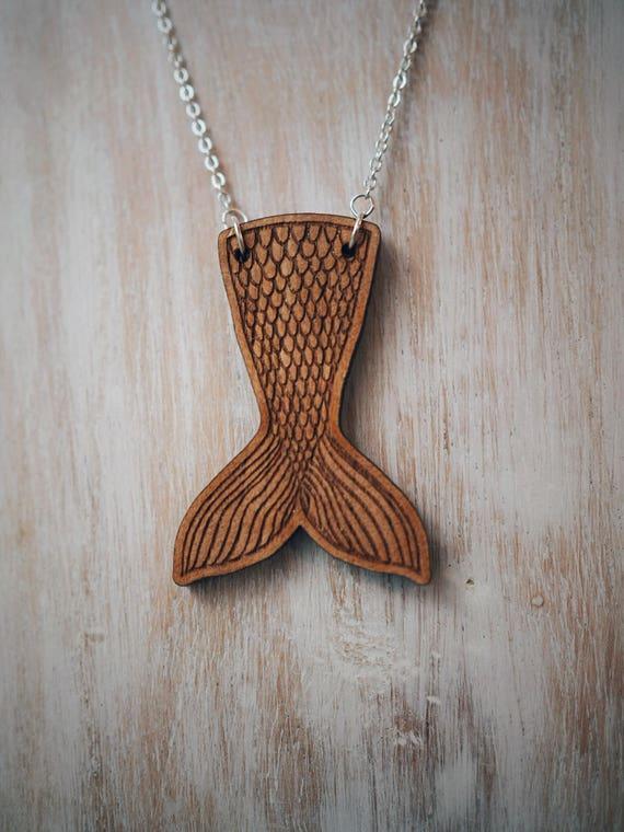 Mermaids Tail Necklace - Cherry wood veneer