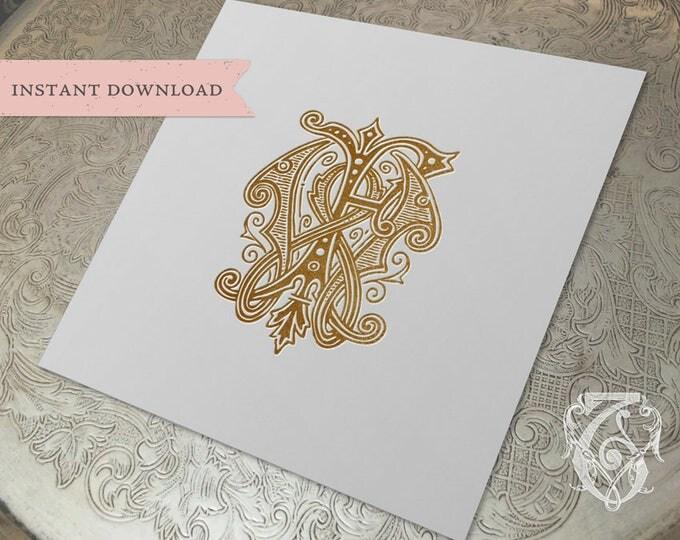 Vintage Wedding Monogram WF FW Digital Download W F