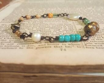 Bohemian Gypsy Wire Wrapped Beaded Bracelet Assemblage Jewelry