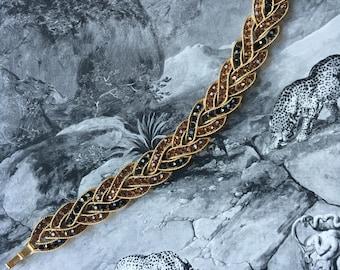 60s Crown Trifari Calvalcade Gorgeous Rare Articulating Bracelet Proprietary Trifanium 23K Gold Alloy Amber Black Rhinestones