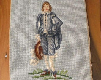 "Vintage Blue Boy Needlepoint Petit Point Needlework Tapestry 8"" x 10"""