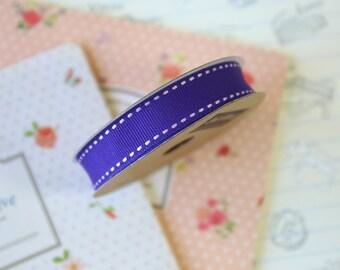 Purple Stitched Grosgrain ribbon