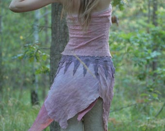 Purple haze pixie wrap skirt, hippie boho wrap skirt in organic design