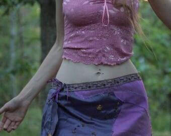 Purple haze festival fractal silk petal skirt