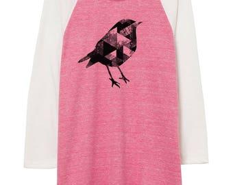 Womens Bird illustration shirt - baseball shirt - 3/4 sleeve - clothing -fashion - pink - illustration - birds - illustration - art