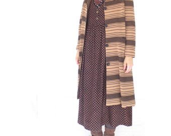 60s Wool Coat * Vintage Knit Jacket * 1960s Couture Coat * Striped Sweater Coat * M / L