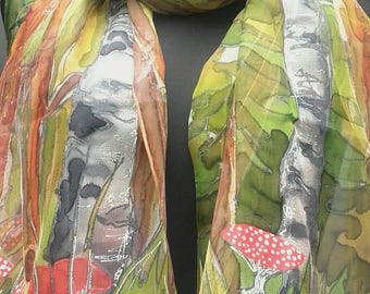"Hand painted silk scarf. Forest scarf. Trees + mushrooms, toadstools, ladybugs on your choice. Artists scarf 18"" x 71"", OOAK gift for her"