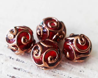 Handmade Glass Beads - Czech Lampwork Beads - Czech Glass Beads - Jewelry Making Supply - 10mm round Beads - Red - Choose Amount