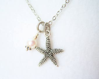 Antiqued silver starfish and cultured pearl .999 silver plated necklace - SF418