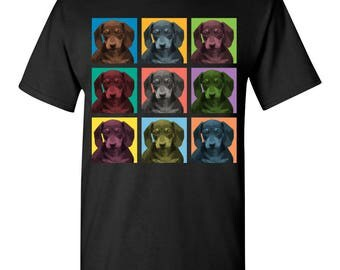 Dachshund Dog Pop-Blocks T-Shirt Tee - Men, Women Ladies, Youth Kids, Long Sleeve