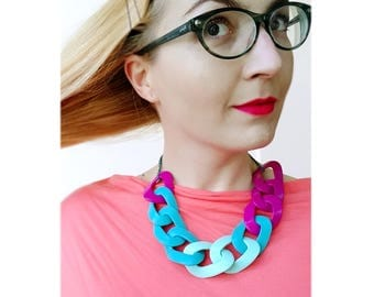 Teal Purple Statement Necklace, Oversized Chain Link Necklace, Summer Necklace