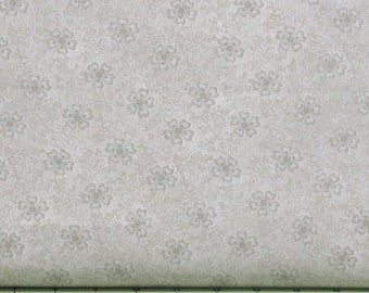 Gray and Ivory Tone on Tone Floral 100% Cotton Quilt Fabric for Sale, Shadows and Sunshine Collection by Henry Glass HEG8721-44