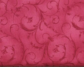 Red Tone on Tone Floral Cotton Quilt Fabric Blender, Shabby Chic, Poppies Collection, Fat Quarter, Yardage, MAS8787-R