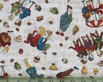 Tossed Coffee Ladies on Ivory Cotton Quilt Fabric, Coffee Escapes Collection, Henry Glass Fabrics, Fat Quarter, Yardage, HEG8841-44