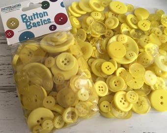 """Yellow Buttons, Packaged Round Button Assortment, 5 oz bag, """"Lemon Yellow"""" #BCB102 Buttons Galore, Sewing, Crafting, Embellishments"""