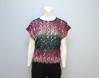 Vintage Cap Sleeved Sequin Sheer Blouse Shirt Top - Disco Sparkles - Size Large - 1970's or 1980's Pink, Black, Rainbow Sequined Retro Boxy