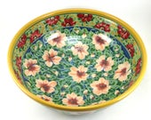 Large Ceramic Serving Bowl - Handmade Porcelain Party Dish - Perfect for Parties - Coffee Table Center Piece - Rose Design - OOAK