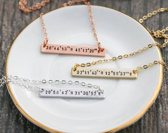 Coordinate Necklace • Christmas Friend Gift Custom Coordinate Jewelry • Latitude Longitude Necklace Stamped Coordinate Bar Necklace • QQQ