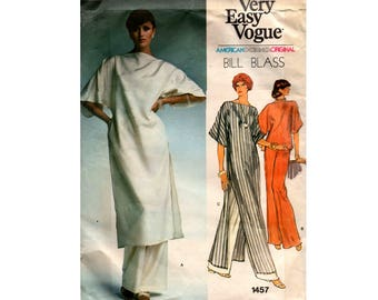 Vogue 1457 BILL BLASS Kaftan Top or Maxi Dress & Pants 70s Vintage Sewing Pattern Size 14 Bust 36 inches UNCUT Factory Folded
