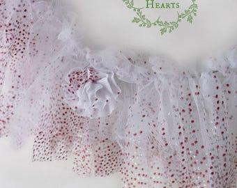Festive Christmas Fabric Garland. Shabby Chic White & Raspberry Garland. Holidays. Weddings. Nursery. Glimmering Holiday Party backdrop