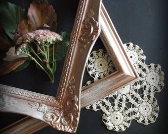 Wedding Portrait Frame. French Chic Ornate Style Frame. Old World Charm. Copper Painted Distressed Frame. Victorian Style . 8 x 10 frame