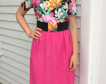 80s Tropical Print Dress Floral Pink Casual M L