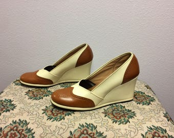 60s Summer Shoes Wedge Spectators Qualicraft Neutral Tall 10