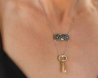 Etched New Orleans (City Park/Harrison Ave.) Pendant/Necklace with Skeleton Key & Sterling Silver