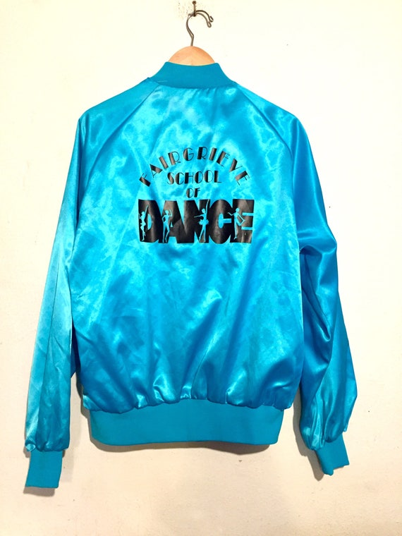 80s Vintage Shiny Blue School of Dance Satin Bomber Jacket