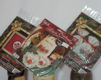 Silk Ribbon Embroidery Christmas 3 Unopened Kits Sachets Tiny Bags, Bucilla and True Colors
