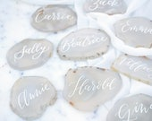 White Agate Light Gray Agate Slice Calligraphy Place Card - escort, natural, organic wedding