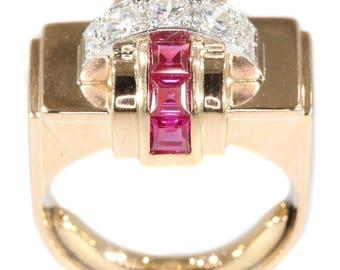 Ruby diamond ring 18k rose gold Retro statement ring brilliant cut diamonds .57ct lab produced rubies vintage 1940s jewelry