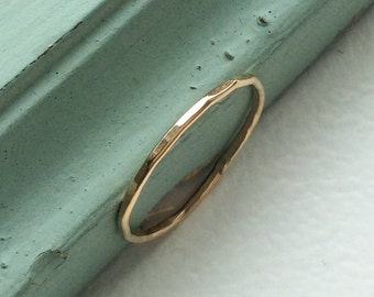Solid gold 1mm ring, thin gold ring