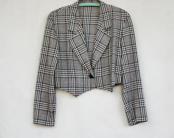 Vintage 90s Women's Cropped Blazer By Mixed Blues/Retro/Jacket