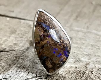 Topography Collection | Blue Green Opalized Wood Sterling Silver and 14 Karat Rose Gold Mixed Metals Ring | Opal Ring | Boho | Rocker | Wood